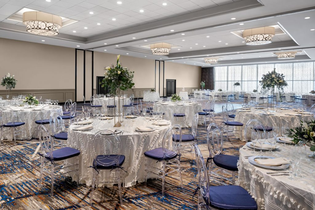 ballroom at the alloy hotel set for a wedding reception